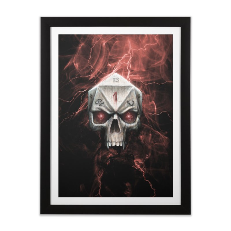 Skull D20 Home Framed Fine Art Print by maratusfunk's Shop