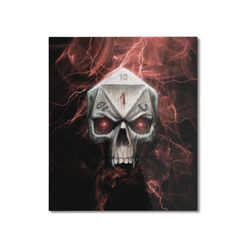 Skull D20 Home Mounted Aluminum Print by maratusfunk's Shop