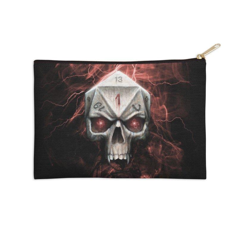 Skull D20 Accessories Zip Pouch by maratusfunk's Shop