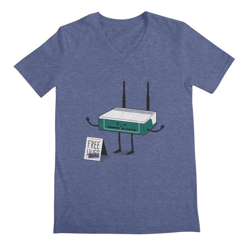 Free Wi-fi Men's Regular V-Neck by marcelocamacho's Artist Shop
