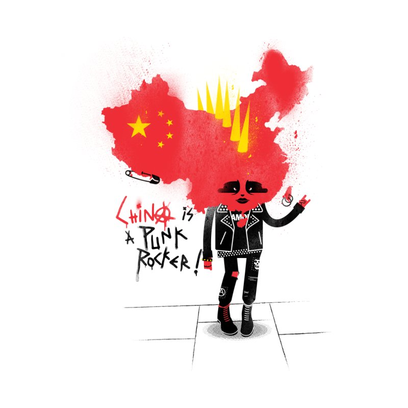 China is a punk rocker! Men's T-Shirt by marcelocamacho's Artist Shop