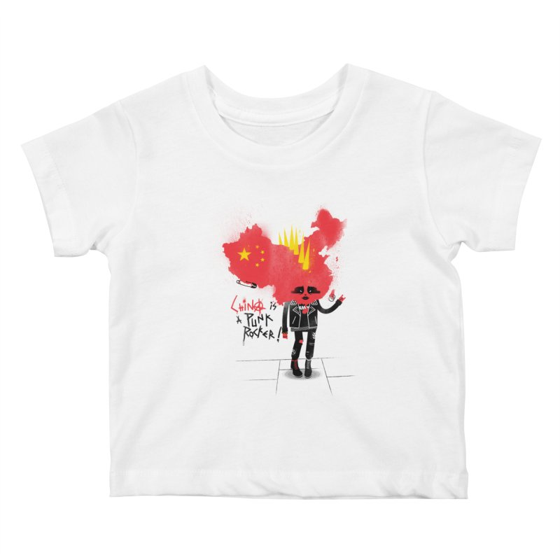 China is a punk rocker! Kids Baby T-Shirt by marcelocamacho's Artist Shop