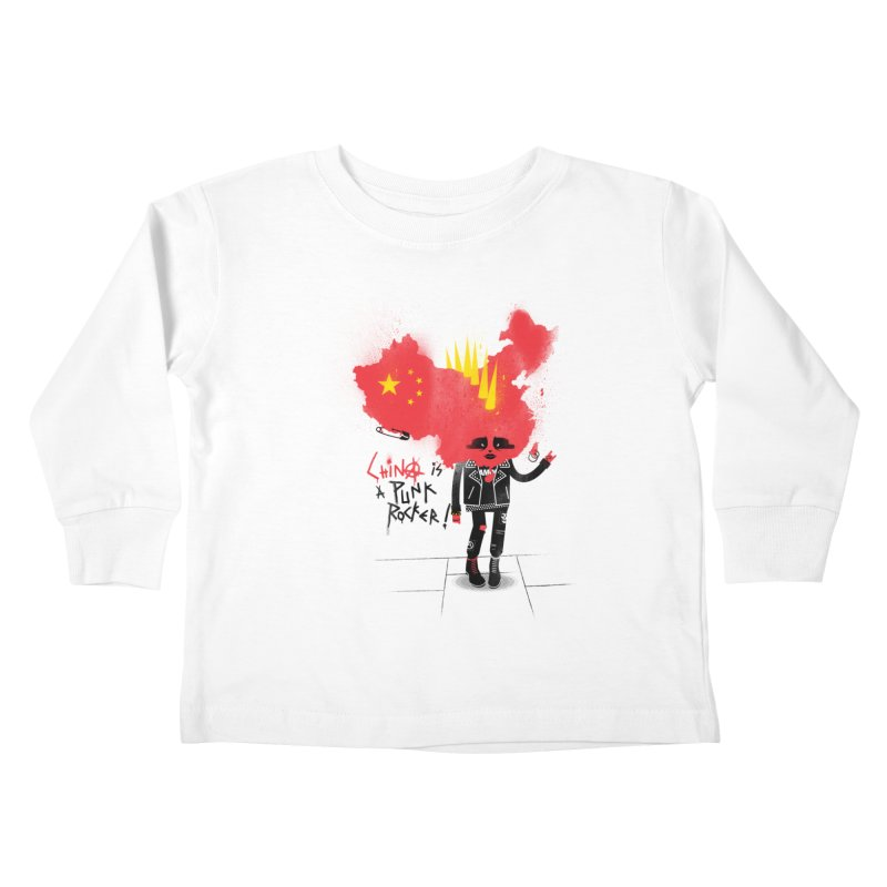 China is a punk rocker! Kids Toddler Longsleeve T-Shirt by marcelocamacho's Artist Shop