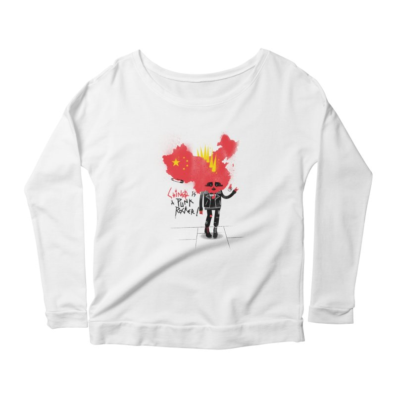 China is a punk rocker! Women's Scoop Neck Longsleeve T-Shirt by marcelocamacho's Artist Shop