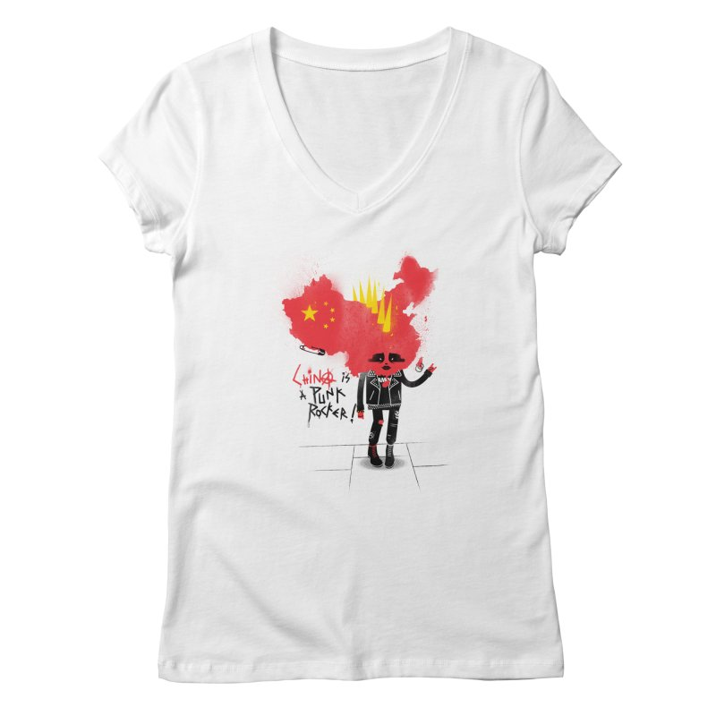 China is a punk rocker! Women's V-Neck by marcelocamacho's Artist Shop