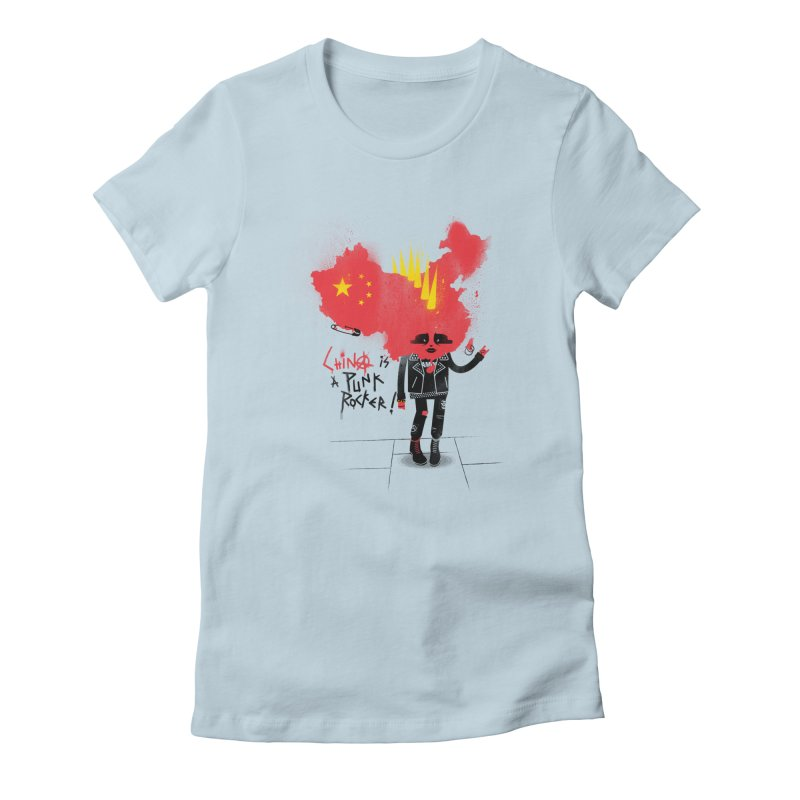 China is a punk rocker! Women's Fitted T-Shirt by marcelocamacho's Artist Shop