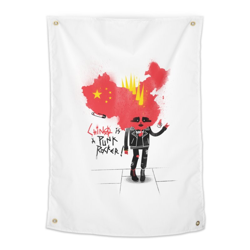 China is a punk rocker! Home Tapestry by marcelocamacho's Artist Shop