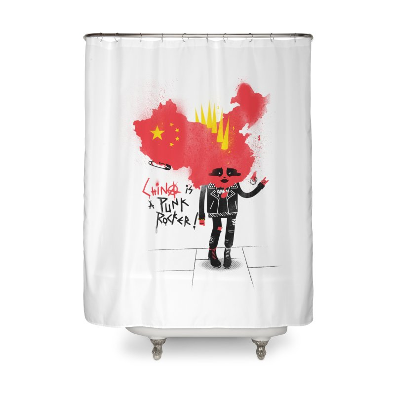 China is a punk rocker! Home Shower Curtain by marcelocamacho's Artist Shop