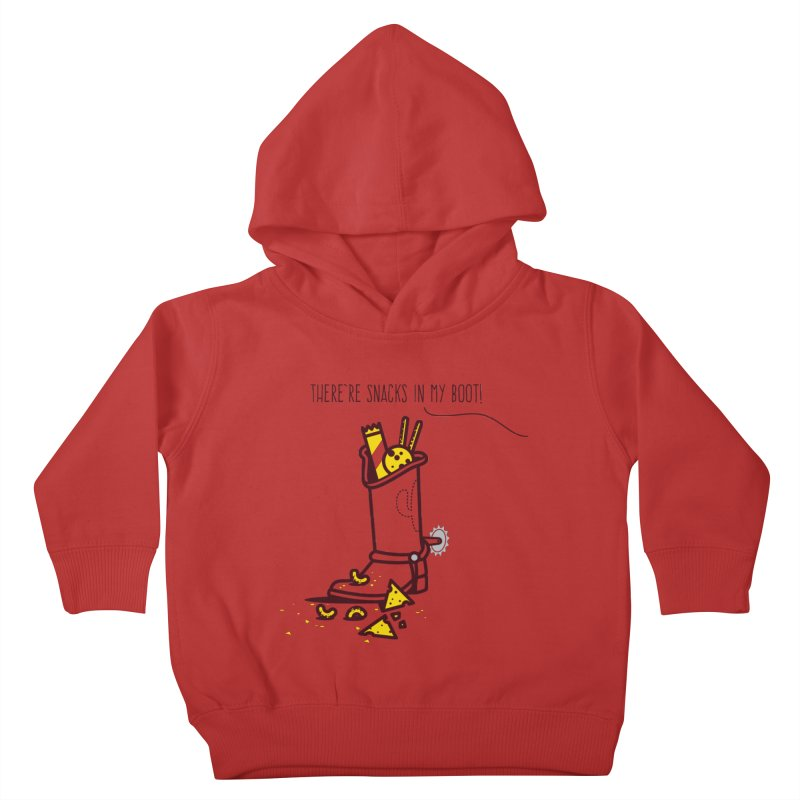 There're snacks in my boot! Kids Toddler Pullover Hoody by marcelocamacho's Artist Shop