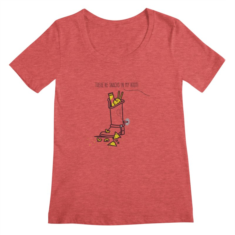 There're snacks in my boot! Women's Scoopneck by marcelocamacho's Artist Shop