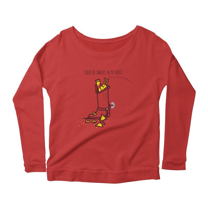 There're snacks in my boot! Women's Scoop Neck Longsleeve T-Shirt by marcelocamacho's Artist Shop