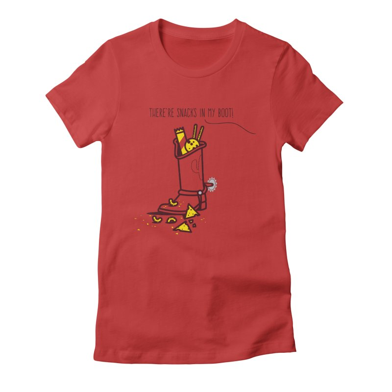There're snacks in my boot! Women's Fitted T-Shirt by marcelocamacho's Artist Shop