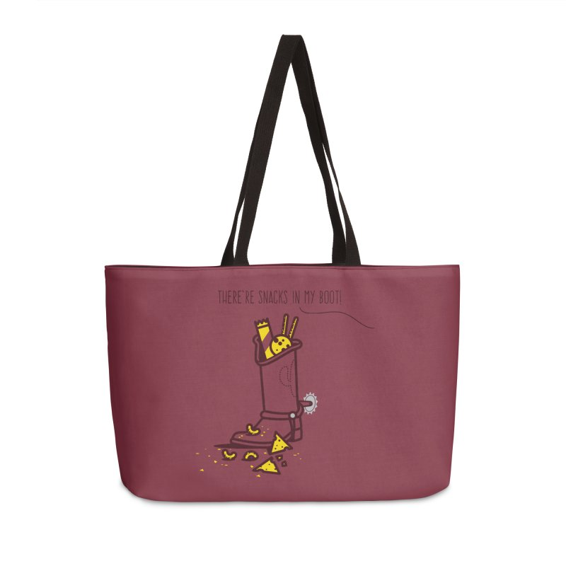 There're snacks in my boot! Accessories Weekender Bag Bag by marcelocamacho's Artist Shop