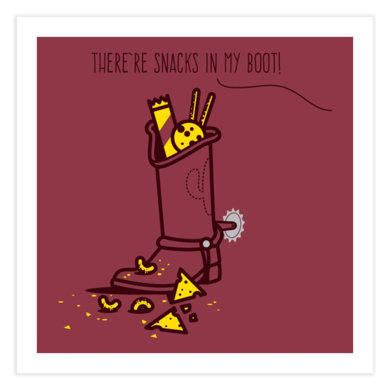 There're snacks in my boot! Home Fine Art Print by marcelocamacho's Artist Shop