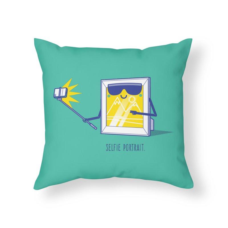 Selfie Portrait Home Throw Pillow by marcelocamacho's Artist Shop