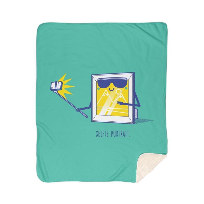 Selfie Portrait Home Sherpa Blanket Blanket by marcelocamacho's Artist Shop