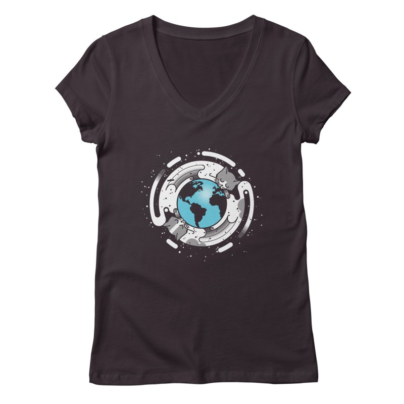 Catmosphere Women's V-Neck by marcelocamacho's Artist Shop