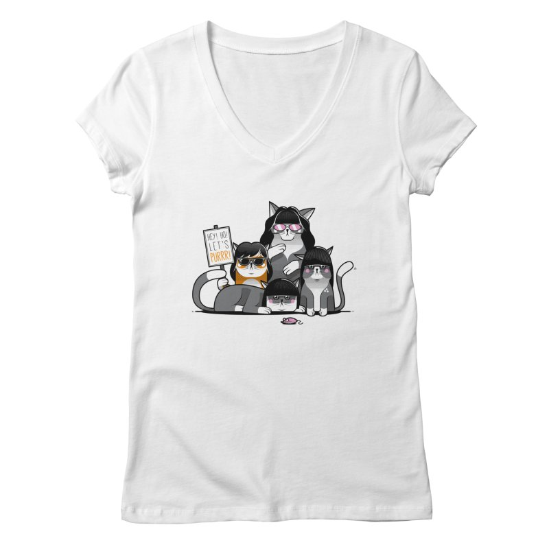 Let's Purrr Women's V-Neck by marcelocamacho's Artist Shop