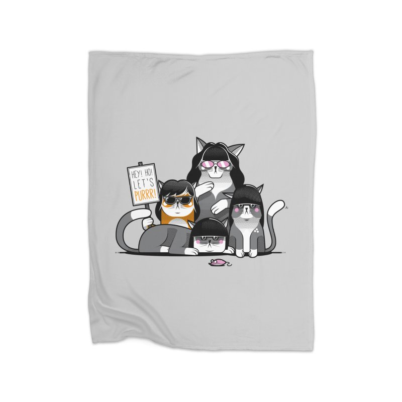 Let's Purrr Home Fleece Blanket Blanket by marcelocamacho's Artist Shop