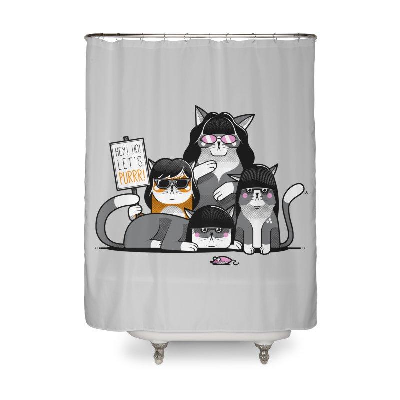 Let's Purrr Home Shower Curtain by marcelocamacho's Artist Shop
