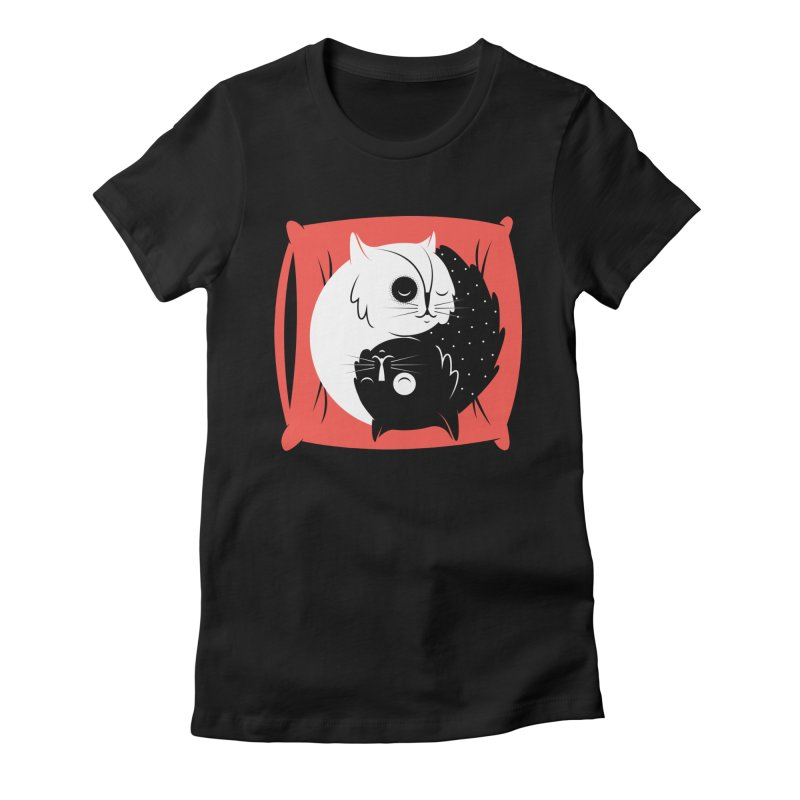 Zen cats Women's Fitted T-Shirt by marcelocamacho's Artist Shop