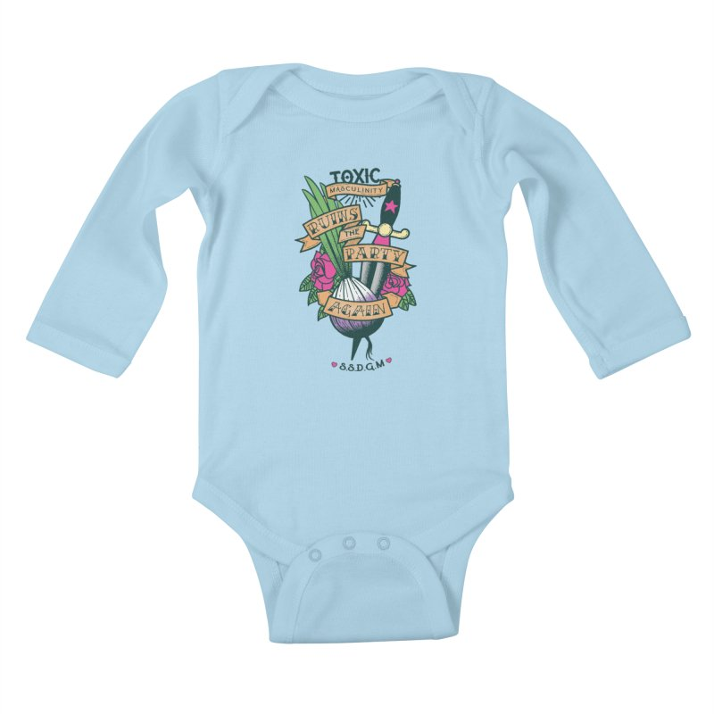 Toxic Masculinity Ruins the Party, Again - American Traditional Kids Baby Longsleeve Bodysuit by March1Studios on Threadless