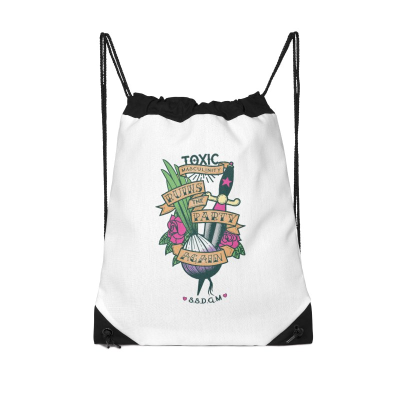 Toxic Masculinity Ruins the Party, Again - American Traditional Accessories Drawstring Bag Bag by March1Studios on Threadless