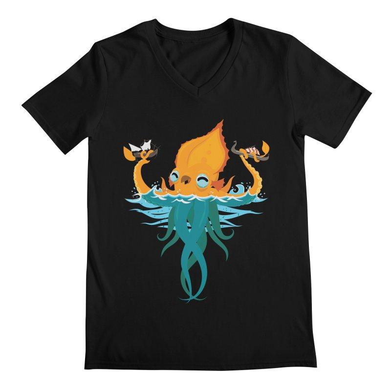 Kraken Cute Men's Regular V-Neck by March1Studios on Threadless