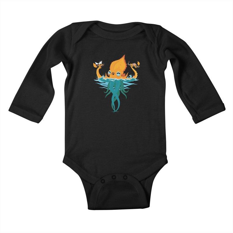 Kraken Cute Kids Baby Longsleeve Bodysuit by March1Studios on Threadless