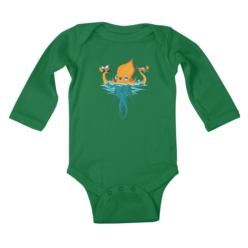 Kraken Cute Kids Baby Longsleeve Bodysuit by March1Studios on Threadless