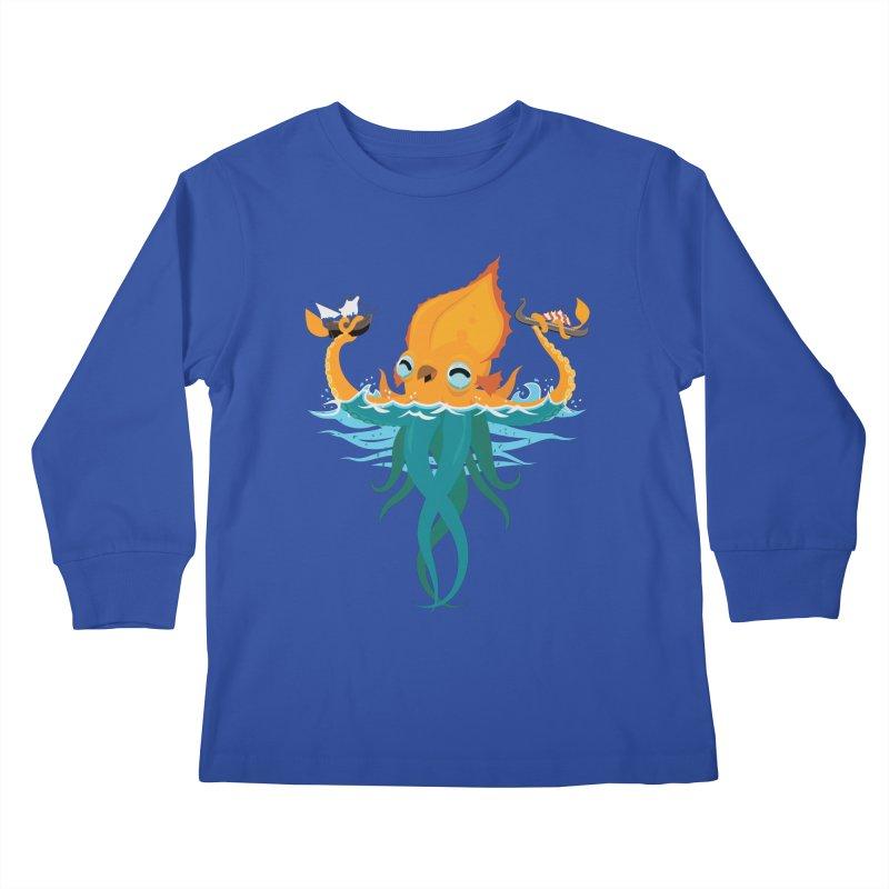 Kraken Cute Kids Longsleeve T-Shirt by March1Studios on Threadless