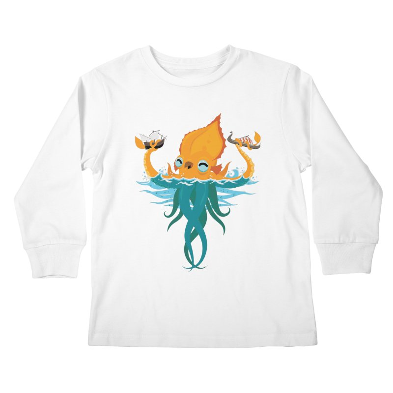 Kraken Cute Kids Longsleeve T-Shirt by March1Studios on Threadless