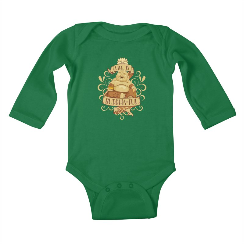 Life is Buddha-ful Kids Baby Longsleeve Bodysuit by March1Studios on Threadless