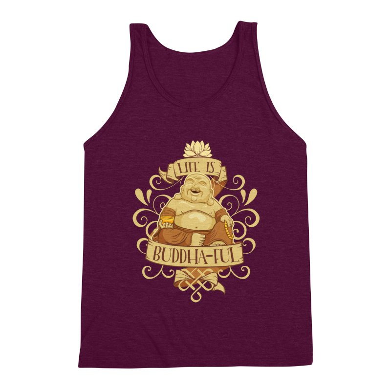 Life is Buddha-ful Men's Triblend Tank by March1Studios on Threadless