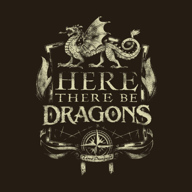 Here There Be Dragons Accessories Sticker by March1Studios on Threadless