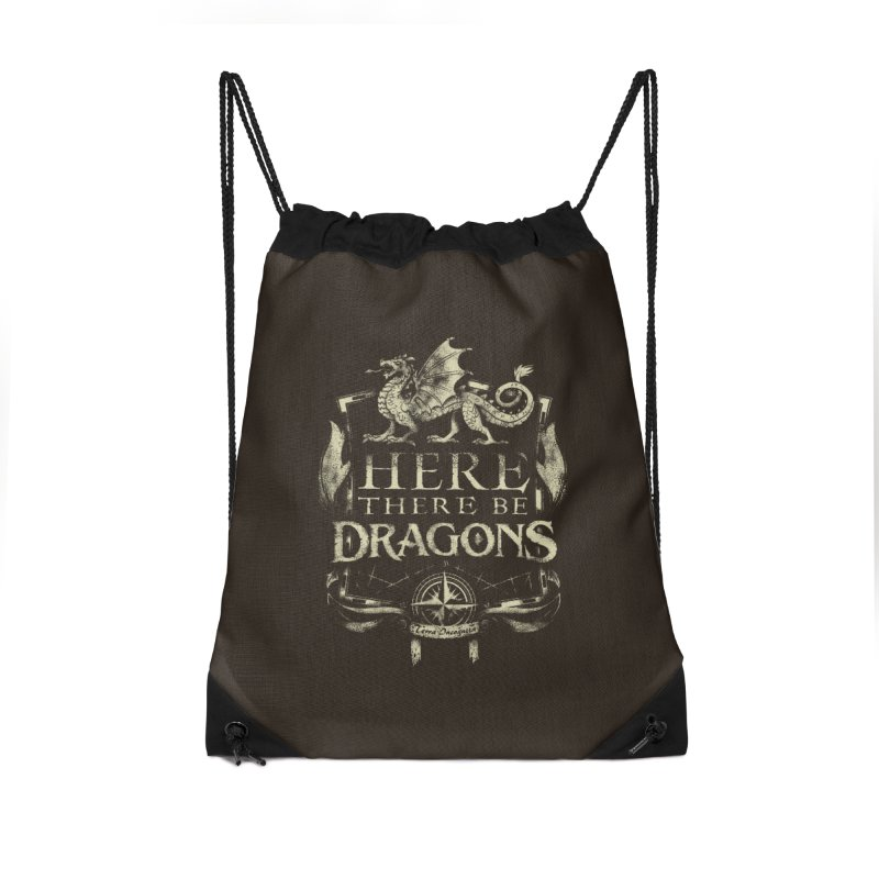 Here There Be Dragons Accessories Drawstring Bag Bag by March1Studios on Threadless
