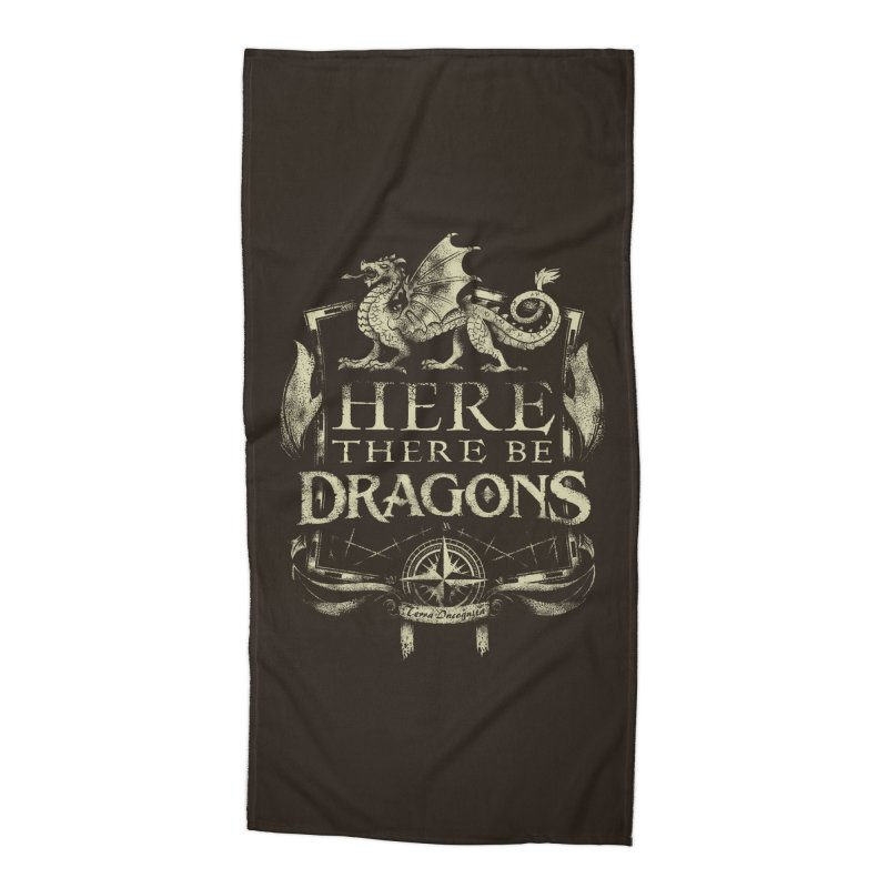 Here There Be Dragons Accessories Beach Towel by March1Studios on Threadless