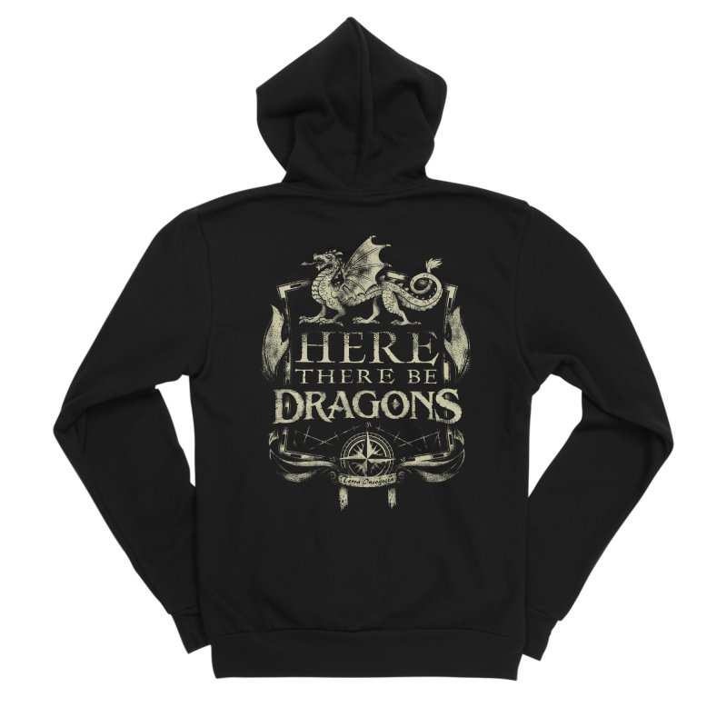 Here There Be Dragons Men's Sponge Fleece Zip-Up Hoody by March1Studios on Threadless