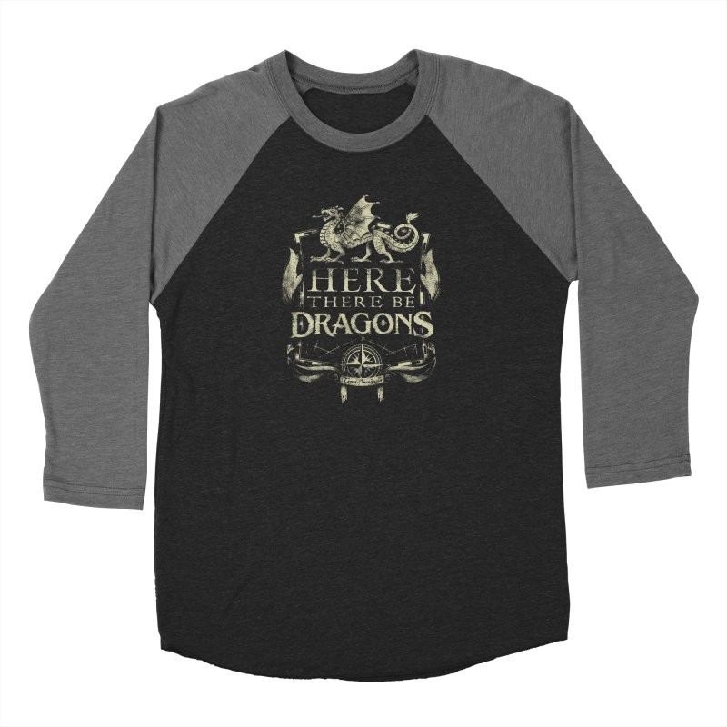 Here There Be Dragons Men's Baseball Triblend Longsleeve T-Shirt by March1Studios on Threadless