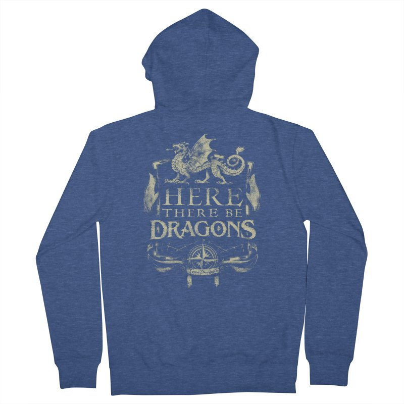 Here There Be Dragons Women's French Terry Zip-Up Hoody by March1Studios on Threadless