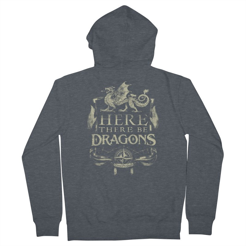 Here There Be Dragons Men's French Terry Zip-Up Hoody by March1Studios on Threadless