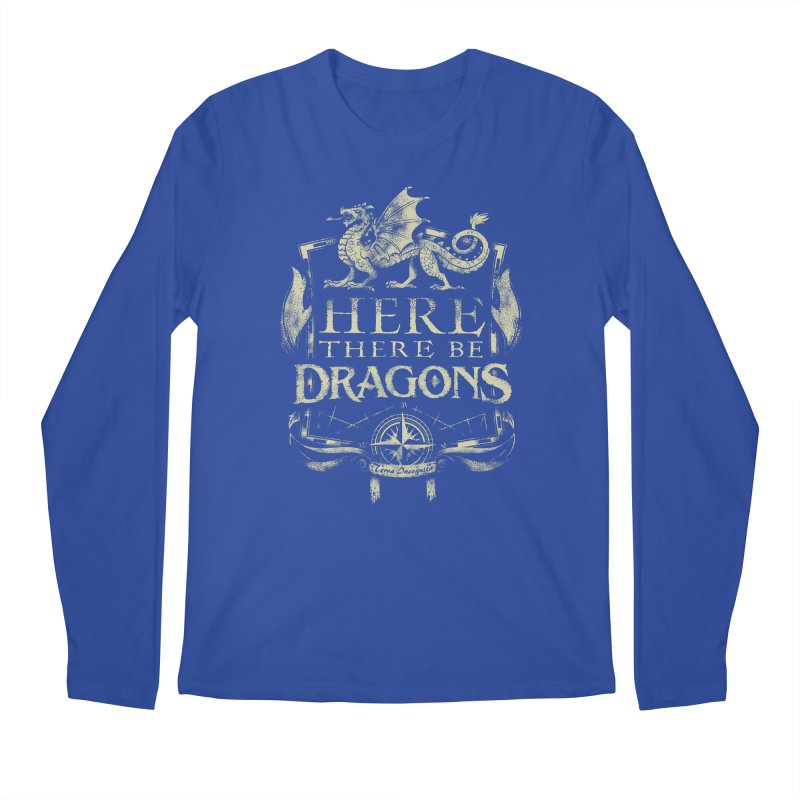Here There Be Dragons Men's Regular Longsleeve T-Shirt by March1Studios on Threadless