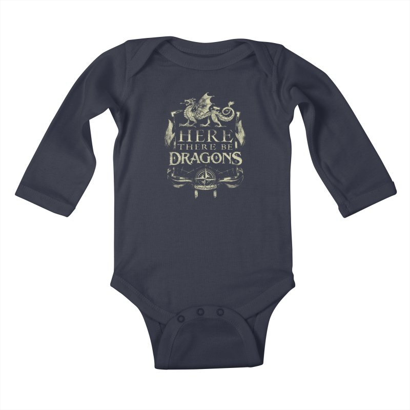 Here There Be Dragons Kids Baby Longsleeve Bodysuit by March1Studios on Threadless
