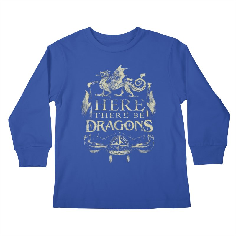Here There Be Dragons Kids Longsleeve T-Shirt by March1Studios on Threadless