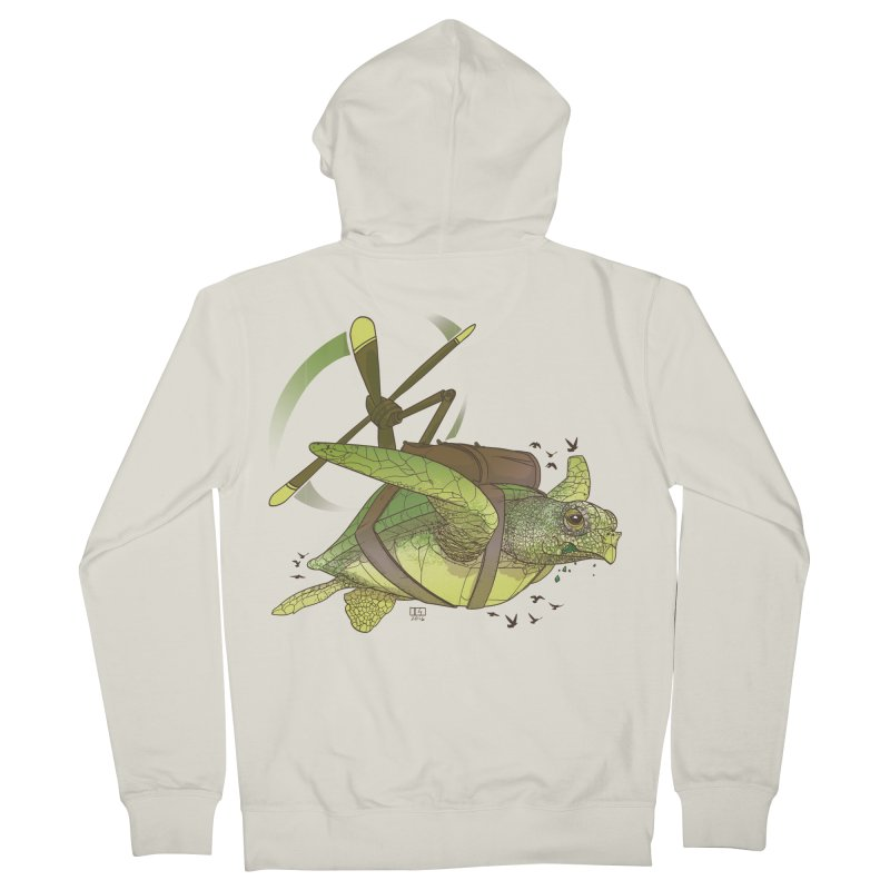 Fred the Giant Flying Laser-Eyed Turtle Men's French Terry Zip-Up Hoody by March1Studios on Threadless