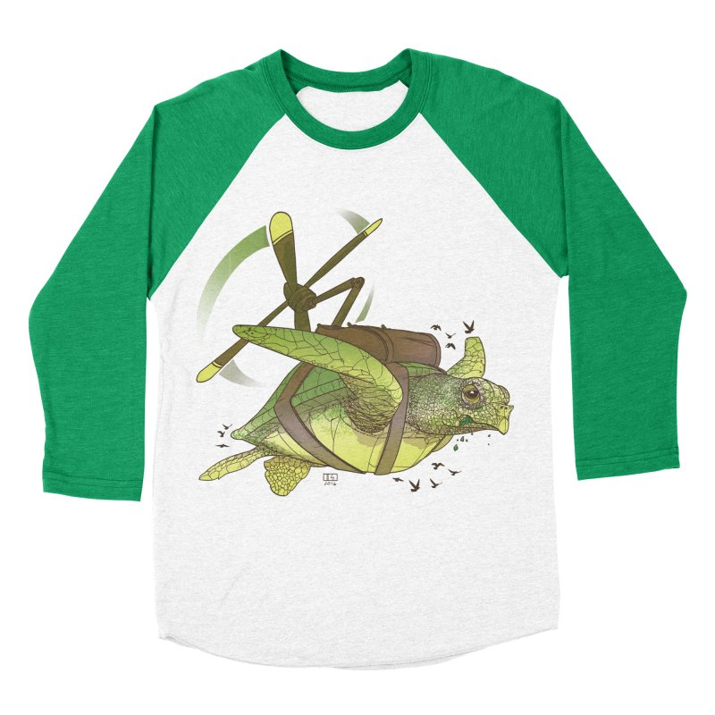 Fred the Giant Flying Laser-Eyed Turtle Men's Baseball Triblend T-Shirt by march1studios's Artist Shop