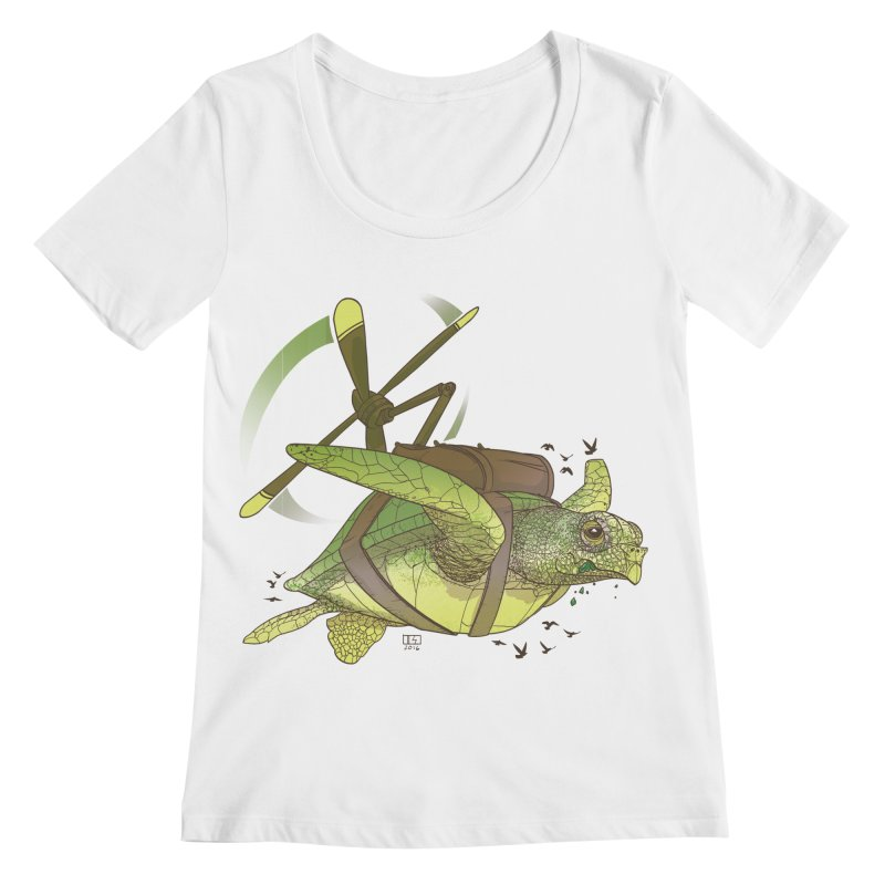 Fred the Giant Flying Laser-Eyed Turtle Women's Regular Scoop Neck by march1studios's Artist Shop