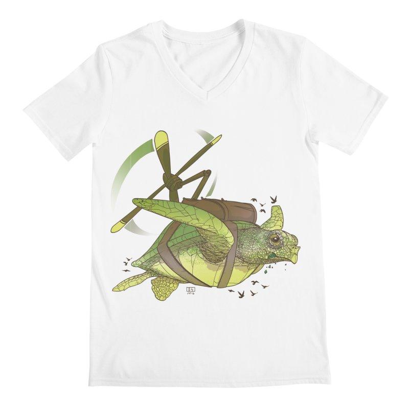 Fred the Giant Flying Laser-Eyed Turtle Men's V-Neck by march1studios's Artist Shop