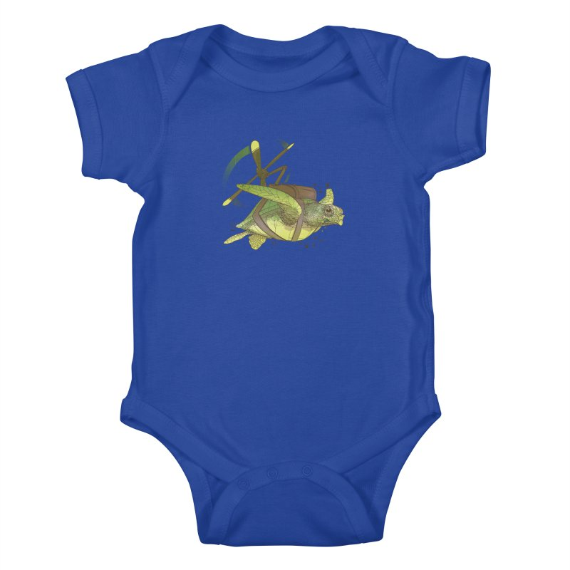 Fred the Giant Flying Laser-Eyed Turtle Kids Baby Bodysuit by march1studios's Artist Shop
