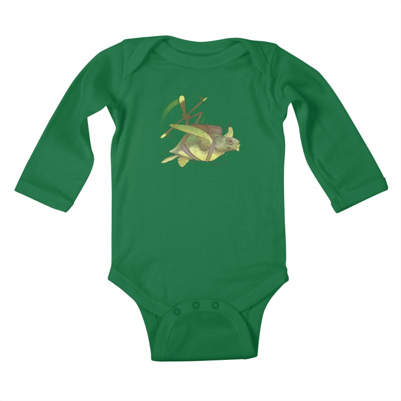 Fred the Giant Flying Laser-Eyed Turtle Kids Baby Longsleeve Bodysuit by march1studios's Artist Shop